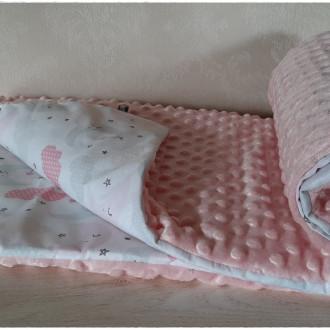 Couverture plaid bébé toute douce, coton et minky, molletonnée, rose, nuages