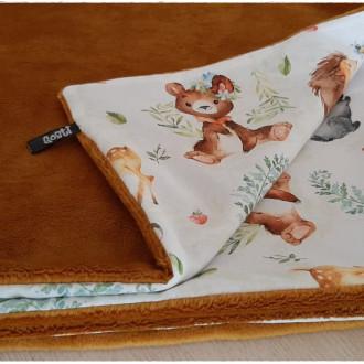 Couverture plaid bébé toute douce, tissus d'haute qualité, coton et minky, caramel, adorables petits animaux, cadeau naissance
