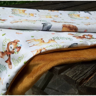 Couverture plaid bébé toute douce, tissus d'haute qualité, coton et minky, molletonnée, gris et orange, renards