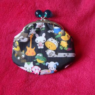 Grand porte-monnaie avec fermoir rétro animaux musiciens.