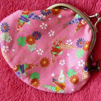 Porte-monnaie avec fermoir rétro Rose et Grues, inspiration japonaise.