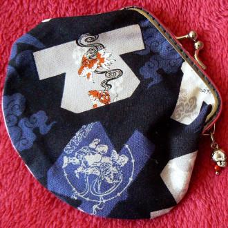 Porte-monnaie avec fermoir rétro bleu kimonos et poissons
