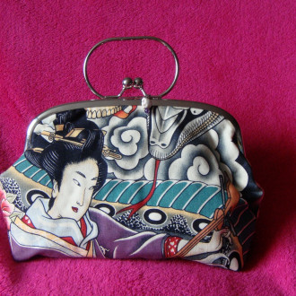 Pochette Geisha, zen, serpent, gothique, pinup, rockabilly, retro. Halloween