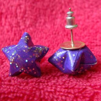 Origami - Boucles d'oreilles puces Violettes Stars