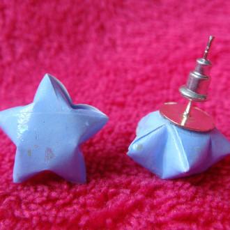 Origami - Boucles d'oreilles puces Bleues Stars