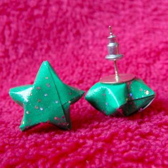 Origami - Boucles d'oreilles puces Vertes Stars