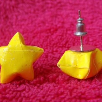 Origami - Boucles d'oreilles puces Jaunes Stars