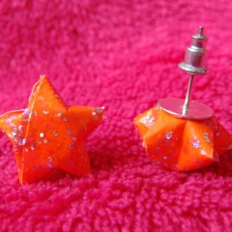 Origami - Boucles d'oreilles puces Oranges Stars