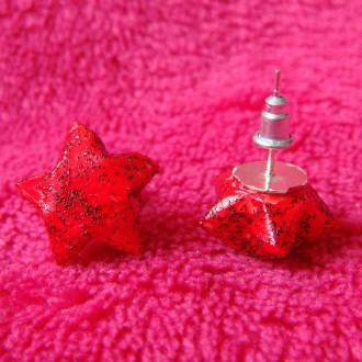 Origami - Boucles d'oreilles puces Rouges Stars
