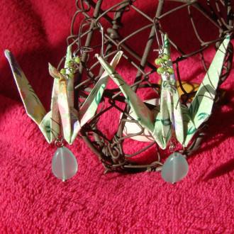 Boucles d'oreilles Grues de Printemps en origami