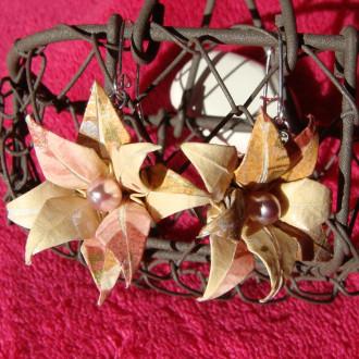 Boucles d'oreilles Fleurs Dorées en origami