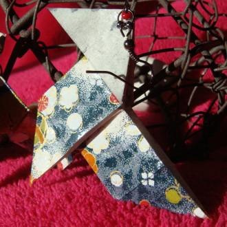 Boucles d'oreilles Cocottes grises en origami