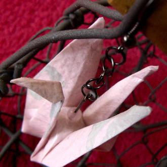 Boucles d'oreilles Grues roses et grises en origami