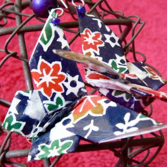 Boucles d'oreilles Papillons bleus à fleurs en origami