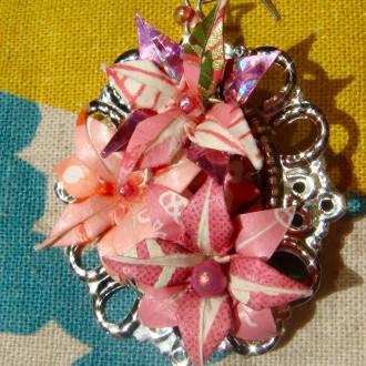 Parure Romantique en Origami, lolita, fleurs roses